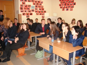 Students at the Kedainiai Sviesioji gymnasium, Kedainiai City, Lithuania, discuss Afterimages after a screening on 18 December 2013.