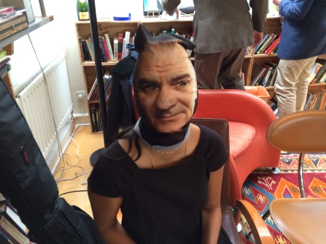 Drummer Radhika Aggarwal wears her LBJ mask during the shooting of 'Love an Eyesore (LBJ '60)' for Extradition Order.
